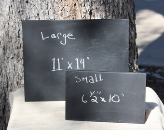 """Freestanding Chalkboards Message Memo Boards, Sign, S or L sizes, 6.5"""" x 10""""w or 11"""" x 14""""w, free standing, reusable, black color"""