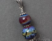 Lampwork Bead Pendant with antique silver bail by Whitney Lassini