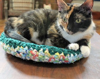 "The ""Laurel,"" NEW Small Cat Bed, Small Dog Bed, Kitten Bed, Hand Crocheted From Upcycled Bed Sheets"