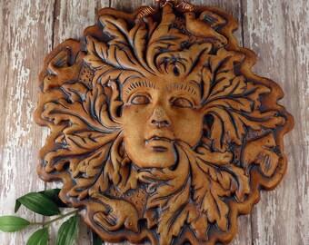 Green Man - Green Woman - Pottery Greenman - Ceramic Garden Ornament - Ceramic Garden Decor Wall Hanging - Outdoor Plaque - 825