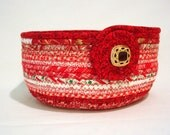 Country Red Coiled Fabric Bowl