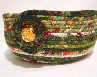 Coiled Fabric Bowl in Sparkling Christmas Green