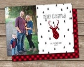 Photo Christmas Card :Buffalo Plaid Deer Silhouette Merry Christmas Custom Photo Holiday Card Printable