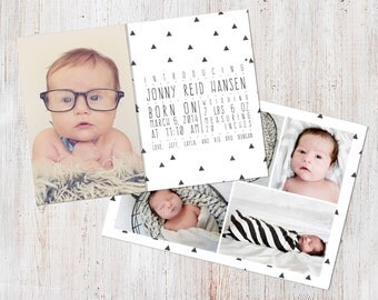 Birth Announcement Template, Birth Announcement Boy, Baby Announcement Template, Photography Templates, Photoshop Template, Digital, Jonny