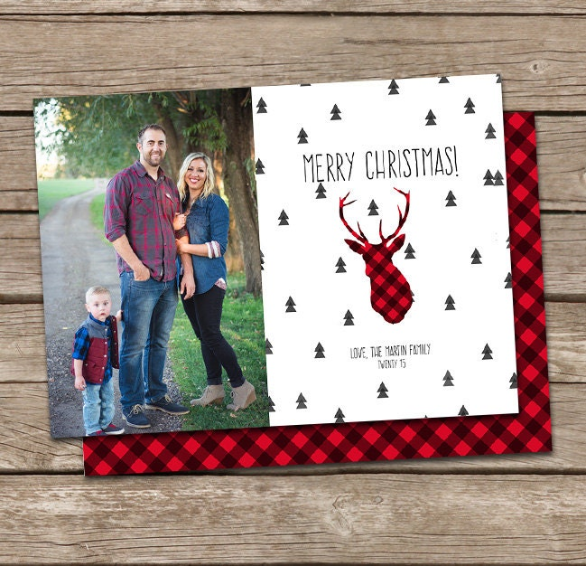 Photo Christmas Card :Buffalo Plaid Deer Silhouette Merry