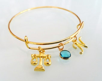 Lawyer Balance Scales Law Student Personalized Birthstone Initial Gold Toned Bangle Bracelet
