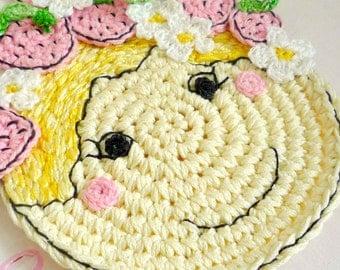 Crochet Strawberry Coaster - Strawberry Fairy Table Decor - Pink Strawberry Trivet - Gift for Mom - Nursery Decor - Gift under 20