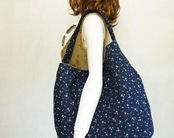 Quilted Handbag, Blue Flower Shoulder Bag, large hobo sling bag for women, quilted floral fabric slouchy handbag, striped handbag