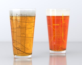 Laramie, WY - University of Wyoming- College Town Pint Map Glasses