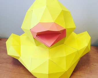 Quack 3d papercraft. You get a PDF, svg, dxf digital file templates & instructions for this DIY (do it yourself) duck paper sculpture.