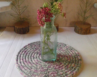 Dusty Lavender and Grey Green Coiled Table Mat, Trivet  or Hot Pad - Small Round