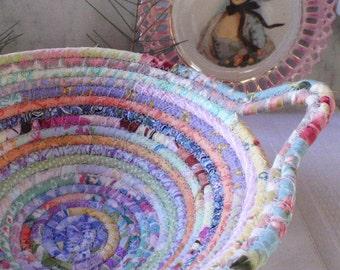 Coiled Fabric Basket - Pastel Gypsy - Organizer, Storage, Bohemian Handmade Basket, Soft Colors