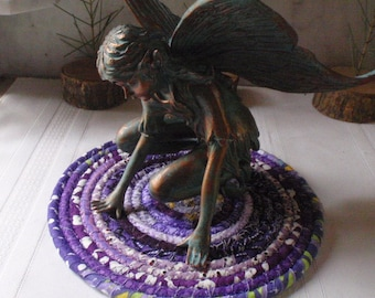 Bohemian Coiled Purple Table Mat, Hot Pad or Trivet - Small Round - Handmade by Me