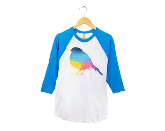 Rainbow Robin Raglan Tee - 3/4 Sleeve Boyfriend Fit Crew Neck Raglan Tshirt in Neon Rainbow Brite and Heather Blue - Women's S-3XL