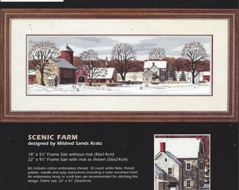 Vintage Dimensions Counted Cross Stitch Kit, Scenic Farm. Design by Mildred Sands Kratz. 18 Count Aida, Open Kit, Hoop, A Few Stitches Done