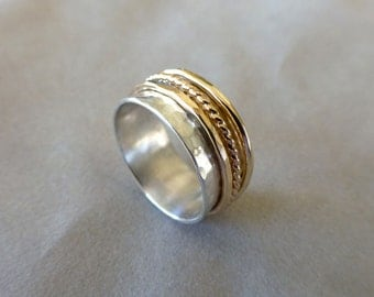 Hand Forged Argentium Sterling and 14k Gold Filled Spinner Ring Size 7.5