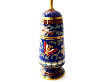 Beautiful Blue Cloisonne Colorful Flower & Butterfly Enamel Gold Tone Accent 4 Inch Vase / Trinket Container with Removable Lid