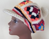 hand knitted hat, Pimp hat, 1970s hat