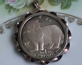 Vintage 1 Oz .999 Fine Silver 1989 Isle Of Man Persian Cat Coin Pendant