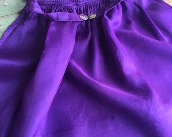 Vintage Woman's Small Pinafore Half Apron Purple Silky Organza Southwest buckle