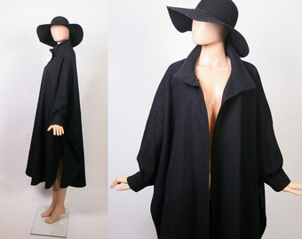 Vintage Avant Garde Cocoon Coat / Batwing Poncho Jacket / Black Wool Cloak / Winter Coat / Draped / Open Size