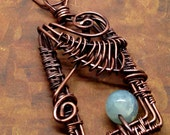 Aquamarine Copper Necklace Wire Weave Frame Rectangle Agate bead Wire Wrapped Oxidized Metal