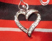 CZ Heart Slider Pendant on Sterling Silver Chain 18 Inch Box Chain