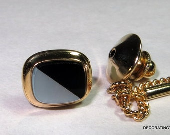 14k Solid Yellow Gold Inlaid Mother of Pearl Onyx Tie Tack Clip Sterling Silver Original Box
