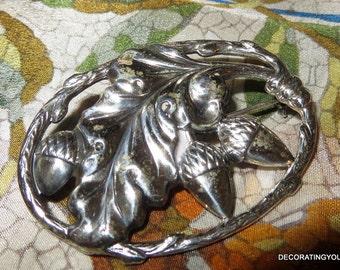 Felch & Co Sterling Acorn Brooch Pin Large Pre- Danecraft 1940s