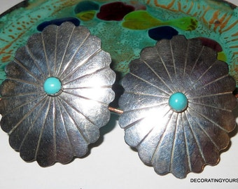 """Ervin Redhorse Sterling Silver Turquoise Stone Earrings Clip On 1 3/4"""" Tall"""