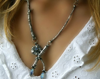 Enchanted Flower - Moonstone Sterling Silver Necklace