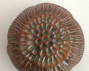 Red Clay Ceramic Bloom Pod Wall Art Pod with Turquoise Green Glaze 2