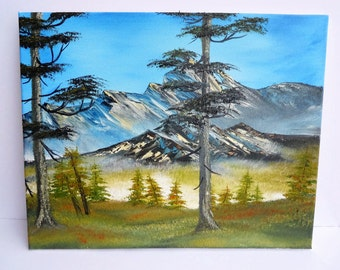 Bob Ross Style Alaska Wilderness Landscape Mountain Snow Oil Painting Evergreen Trees, 16 x 20 Stretched Canvas