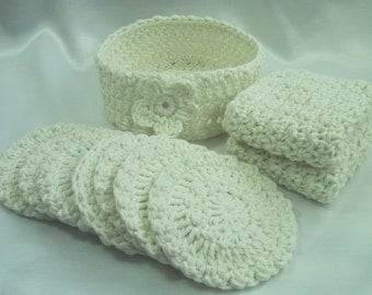 10 Piece Facial Set - 2 Facial Wash Cloths, 7 Scrubbies & Holder - Hand Crocheted Cotton Yarn in Ivory - Pamper Yourself - Nice Gift Set