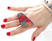 Ceramic ring, Unique ring, Statement Ring - fashion ring, boho ring, adjustable ring, gift for her, handmade ring,  Australian Art