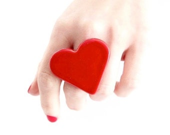 Red Heart, Ceramic Ring, Gift for Her  - Valentines Day,  adjustable ring, statement ring, cocktail ring - handmade ring by StudioLeanne