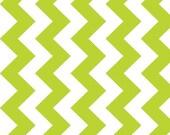 "CLEARANCE SALE BY The Yard Riley Blake Chevron Lime Medium Chevron --  Cotton Fabric --  By The Yard -- 1 Yard -- Manufacturer's Cut 58"" Wid"