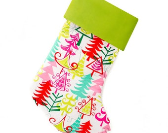 Pink Christmas Stocking Personalized Stocking Christmas Trees    CS0006 by Forshee Designs