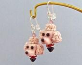 Poodle Earrings In Pink - Handmade Lampwork Bead Art SRA