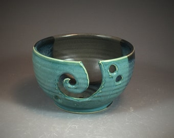 Listing for PAM L- Yarn Bowl in Antique Jade Glaze  and Steel Gray Shino Glaze thrown on Potter's Wheel