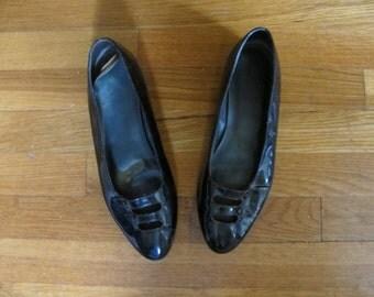 Vintage Patent Leather Double Strap Flats Shoes