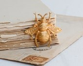 Custom listing for Marianne - Gold BEE Forest Creature Nature Study Honey Bee Vintage Style Gold Bumble Bee