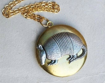 Armadillo Locket Necklace, Silver Armadillo Pendant, Rustic Boho Jewelry, Texas Armadillo, Creepy Cute Pendant, Gift for Her, Gift for Him