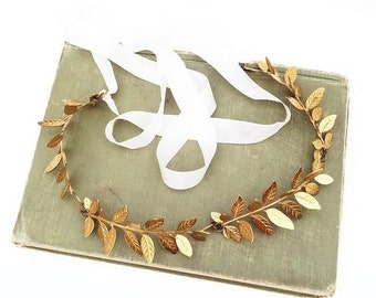 GOLD Leaf Headband Tiara Wreath Goddess Wedding Grecian Romantic Bridal Woodland Garden Fairy Bohemian