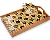 Mustard Check Mudcloth Two-Way Tile Tray™