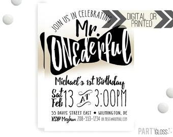 Mr. ONEderful Invitation | Digital or Printed | Gold Black Invitation | Mr. Wonderful Invitation |  Onederful Invite | Little Man Bow Tie