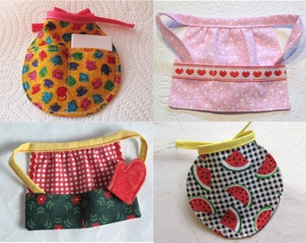 Barbie 4 Season Doll Aprons Collection - Pink with Hearts - Watermelon Tea Apron - Red Check with Green Floral - Free Shipping