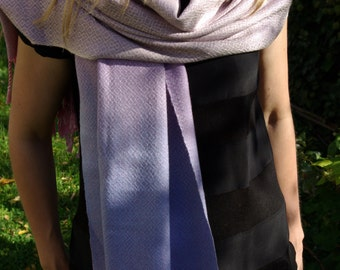 Handwoven, hand dyed multicolored silk shawl, accessories woven by Lamaisondesfibres