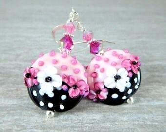Pink White Floral Earrings, Black White Polka Dot Dangle Earrings, Lampwork Earrings, Whimsical Jewelry Cottage Chic Earrings Glass Earrings