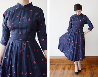 1950s Navy Dress with Camel Print - S/M